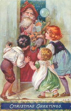 Christmas Greetings ~ 3 children greet Santa at the door
