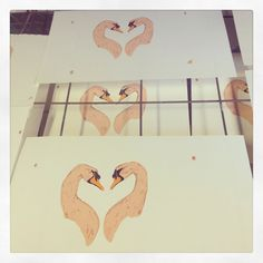 Swan love hearts hand printed with four colours :)