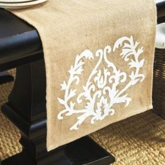 Medallion Burlap Table Runner | Ballard Designs you can make this and stencil it for less than $10