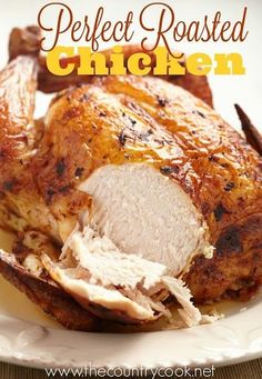 This is the best roast chicken re… Easy, simple, flavorful Perfect Roast Chicken. This is the best roast chicken recipe ever and is perfect for your Sunday roast. Baked Whole Chicken Recipes, Oven Roasted Whole Chicken, Cooking Whole Chicken, Stuffed Whole Chicken, Roasting Chicken In Oven, Roasting Pan, Fried Chicken, Skillet Chicken, Rosted Chicken
