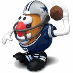 "This officially licensed Dallas Cowboys Mr. Potato Head is designed for collectors and fans of all ages.  Standing 6"" tall, this player is the perfect size for proudly displaying on a shelf or playing ""mix and match"" to create a variety of hilarious combinations.Each NFL Sports Spud comes with 10 components to mix and match, including a Cowboys jersey, helmet, foam finger and multiple ""game faces""."