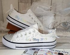 Personalised First Holy Communion shoes Customised twinkle toe Bling Communion Canvas shoe Flower girl flower girl trainers runners sneakers