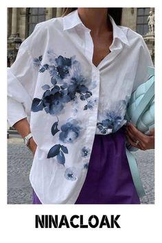 # Cotton Mix # Button-down Collar # Loose # Fall/Autumn / Winter / Spring # Casual # Print # Placket # Long Sleeve #