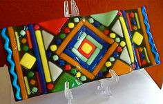 Indian Inspired Design Fused Glass Rug Serape Flying by glassmagic, #cgge