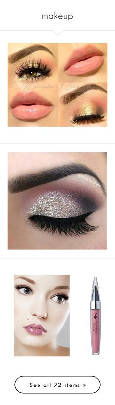 """makeup"" by myfashionsence ❤ liked on Polyvore featuring beauty products, makeup, eyes, lips, beauty, lips makeup, eye makeup, eyeshadow, glitter eye shadow and silver glitter eye makeup"