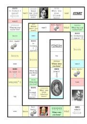 English worksheet: Simple Past - Was/were Board Game (famous people)