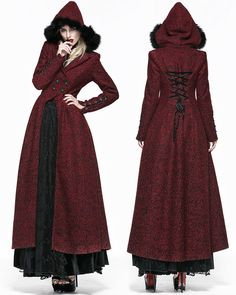 Queen Of Hearts Long Coat Jacket Womens Red Hooded Vintage Mode Steampunk, Steampunk Costume, Steampunk Clothing, Steampunk Fashion, Gothic Fashion, Steampunk Coat, Queen Of Hearts, Gothic Lolita, Lady In Red