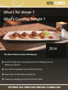 Yum! What's Cookin' Tonight?   Menu Planner by www.your-printable-planner.com