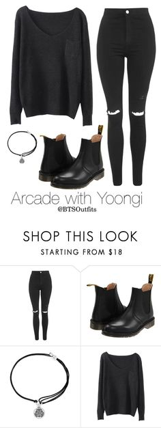 """""""Arcade with Yoongi"""" by btsoutfits ❤ liked on Polyvore featuring Topshop, Dr. Martens and Alex and Ani"""