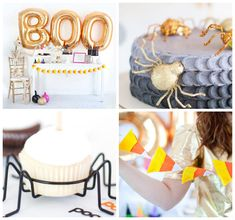 Not So Spooky Halloween Bash via Kara's Party Ideas KarasPartyIdeas.com Banners, cake, decor, favors, desserts, and more! #halloween #halloweenparty #halloweenpartyideas #halloweenbash #candycorn #DIYHalloween