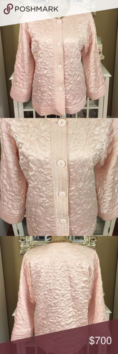 Oscar De La Renta Soft Pink Button Up Vintage, feels like silk- a gem! Oscar de la Renta Jackets & Coats