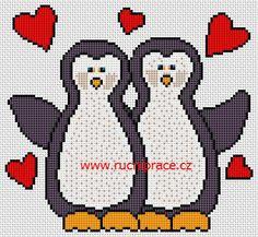 Penguins, free cross stitch patterns and charts - www.free-cross-stitch.rucniprace.cz