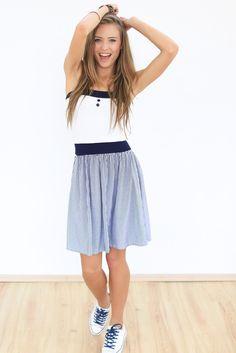 Minikleider - Kleid Sailor blau weiß - ein Designerstück von Shoko bei DaWanda
