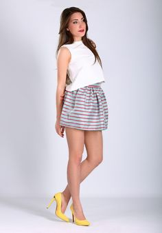 Short skirt high waist with zip on the back in coated linen. BUY IT NOW ON www.dezzy.it!