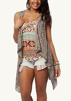 Aztec Cascading Sleeveless Wrap | Tops | rue21
