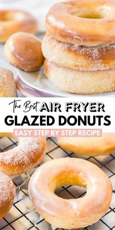 Air Fryer Donuts made from scratch with yeast dough taste like the real deal. These Homemade Glazed Donuts are tender and soft, taste better than baked, and have less fat than deep-fried donuts! Learn how easy it is to make them in the Air Fryer! Air Fryer Oven Recipes, Air Fryer Dinner Recipes, Air Fryer Recipes Donuts, Deep Fryer Recipes, Air Fryer Chicken Recipes, Air Fryer Recipes Gluten Free, Air Fryer Recipes Potatoes, Air Fryer Recipes Vegetables, Air Fryer Doughnut Recipe