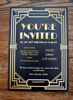 There are many Gatsby Party Ideas that you can try on our current articles, check this out. So if you're prepared to party this up, Gatsby-style Great Gatsby Invitation, Party Invitations, Invitation Wording, Invitation Ideas, 60th Birthday Invitations, Invitation Templates, Hollywood Party, Estilo Gatsby, Great Gatsby Themed Party