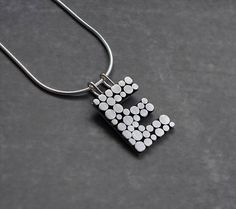Sterling silver initial necklace. Silver letter necklace