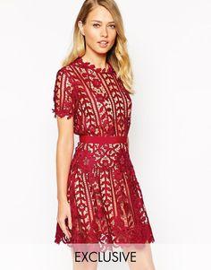 Self Portrait Lace A Line Dress With Peplum Detail on shopstyle.com