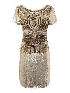 Biba Gold Fully Embellished Scoop Back Dress