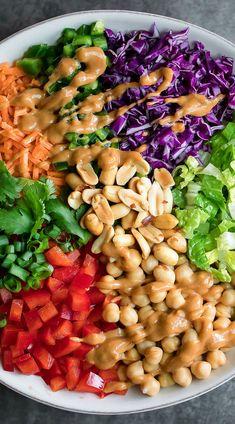 Salad Recipes For Dinner, Healthy Salad Recipes, Vegetarian Recipes, Cooking Recipes, Side Salad Recipes, Thai Recipes, Lunch Recipes, Pasta Recipes, Free Recipes