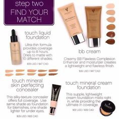 Younique, Step 2 Liquids, Creams, Pressed and BB's so many colours and varieties of foundations to choose from. I love them all, but seriously this is the lightest liquid you will ever feel on your skin! www.truelyloveablelashes.com