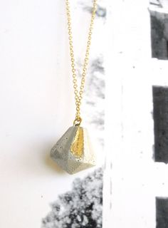 Concrete Diamond necklace, Long gold necklace, Everyday jewelry, Simple necklace, Geometric necklace, Modern jewelry, Concrete jewelry gift by shooohsJewelry on Etsy