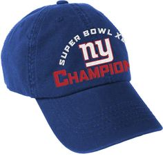 $21.99 from FansEdge - New York Giants Mens Royal Super Bowl XVLI Champions Unstructured Hat - This comfy Giants hat features embroidered team graphics and proudly reads 'Super Bowl XVLI Champions' for all to see. Cap off a magical season with this stylish hat from West Coast Novelty. http://www.fansedge.com/New-York-Giants-Mens-Royal-Super-Bowl-Champions-Unstructured-Hat-_-780580195_PD.html?social=pinterest_020712_superbowl