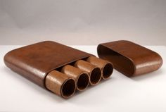 Vintage Leather Cigar Tube Humidor Holder by BelmontandBellamy