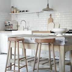 organic, natural kitchen // handcrafted timber stools // butchers block - island bench // subway tiles // chop boards