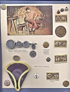 Card 16 Vintage Buttons & Craftmen Stamps, Blown Glass, Pewter, Colonial & Hair