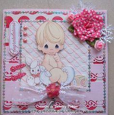 Handmade Cards (Scrapbooking) - Baby Card - Precious Moments sticker