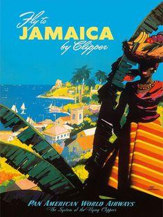 "Pan American Air Lines - Travel Poster  - [ Jamaica ]  - 8-1/2"" X 11"""