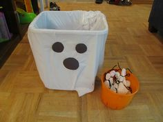 Use white bucket and glue eyes on it instead of a trash can Throw a toddler Halloween party this year with simple age appropriate food and activities. Easy ways to enjoy the holiday with toddlers. Preschool Halloween Party, Halloween Birthday, Holidays Halloween, Halloween Fun, Toddler Halloween Games, Halloween Games For Preschoolers, Hallowen Party, Halloween Projects, Halloween Decorations