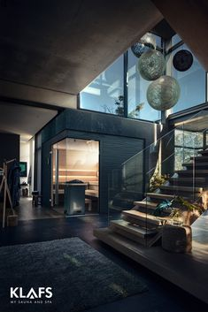 Sauna and sport - a double success Bungalow Haus Design, Modern Bungalow House, Dream Home Design, House Design, Design Design, Interior Design, Sas Entree, Moderne Pools, Sauna Design