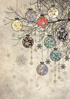 Holiday Fun Bauble Branches - christmas card design by Jane Crowther for Bug Art greeting cards. Christmas Doodles, Noel Christmas, Christmas Paper, Vintage Christmas Cards, Christmas Images, Winter Christmas, Christmas Crafts, Xmas, Christmas Card Designs