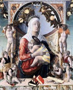 Lo Zoppo. (Marco d'Antonio di Ruggero) 1433-1478. Venise et Bologne.  Vierge et l'Enfant et huit anges.  Virgin and Child and eight angels. 1455. Louvre.