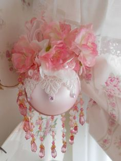 Pink Princess Victorian Rose pink Sparkling Venetian Chandelier Ornament Christmas Tree Trim Pearl White Shabby Chic Rose Bow  SCT