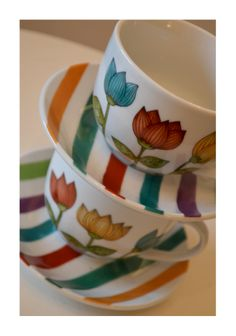 Tulip Teacups and Saucer  So Bold and Cheerful!