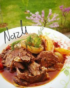 FIRINDA KÜLBASTI TARİFİ Baked Flank Steak Recipe, Flank Steak Recipes, Meat Recipes, Iftar, Turkish Recipes, Italian Recipes, Ramadan, Turkish Kitchen, Good Food