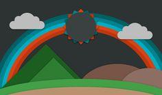 arcoiris, sol, montañas, flat design, nubes - Fondos de Pantalla HD - professor-falken.com