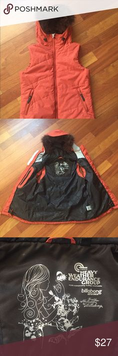 """Billabong Kitty vest - snowboarding, size M/L Like new orange Billabong Kitty vest from  """"Heavy Weather Endurance Group Winter Solstice Collection"""". Waterproof. Hooded. Removable faux fur hood liner. Size L, fits more like a M. Never worn. Billabong Jackets & Coats Vests"""