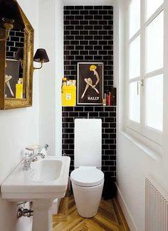 EstrenoCasaAzulejos Para Baños Pequeños · Baño Pequeño Negro y Amarilla  Bathroom Black 5f1724e2ebb3