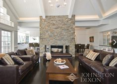 Love the double sided fireplace,the gorgeous coffered ceiling and the floors. Living Room Update, Home Living Room, Living Area, Living Spaces, Cabin Fireplace, Living Room With Fireplace, Hamptons Style Homes, Cape Cod Style House, Double Sided Fireplace