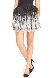 Alice + Olivia 'Lauryn' Ostrich Feather Miniskirt