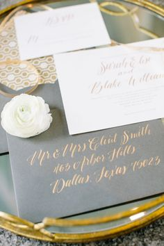 Trending: All The Rave, Foil Mixed Metals, Silver and Gold Wedding, Calligraphy, Wedding Invitation