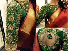 Ladies!! Getting your Kancheepuram silks ready for the upcoming festive season? Try out these trending blouse designs to sass up your traditional silk sarees and bring out the fashionista in you. Elbow length sleeve designs are everyone's favourite now! Blouses with sleeve till the elbows were the fashion on the 90's. This has re-emerged with the sleeves full of embellishments or embroidery. This makes the upper hand look thinner. This design on a silk saree blouse will be a perfect o...