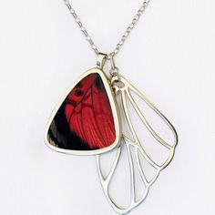Butterly Wing Jewelry, most beautiful thing I've seen! Agrias Lugens Cluster Pendant - featured on Fab.