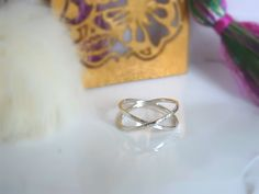 Cross Ring, double silver ring, Dainty X Ring, Minimalist X, hammered sterling, silver ring Sale 50, Sterling Silver Rings, Heart Ring, Minimalist, Perfume, Wedding Rings, Engagement Rings, Jewels, Gold