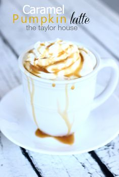 This Caramel Pumpkin Latte is perfect for a lazy fall afternoon! Warm up by the fire with this delicious drink recipe.